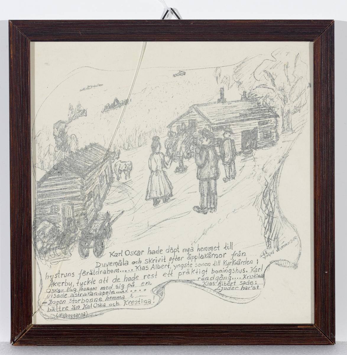 Teckning (illustration till Nybyggarna). Karl Oskar visar runt på den nya gården Duvemåla.