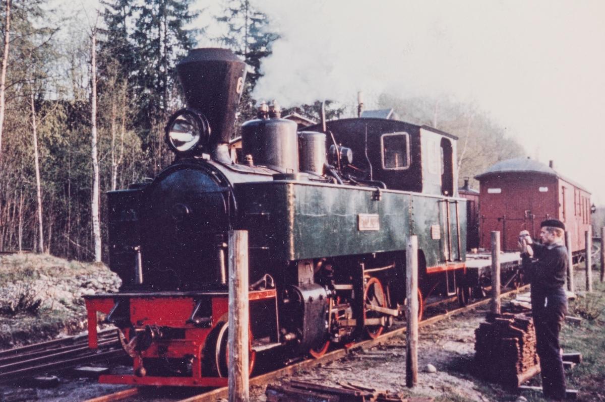 Urskog-Hølandsbanens damplokomotiv XXIXa nr. 6 HØLAND på museumsbanens stasjon på Bingsfoss