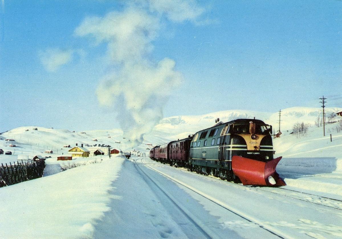 NSBs innleide Deutz diesellok 40.02, med dagtoget fra Bergen til Oslo Ø, tog 602, på Ustaoset stasjon