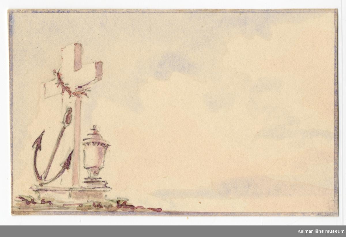 :1. Motiv av stor villa i parkmiljö. I förgrunden en grupp människor, två vuxna och tre barn. :2. Motiv av båtar på vatten, i bakgrunden en hög kulle/ö med byggnader med höga tornspiror. :3. Motiv ankare bekransat kors och antik urna.