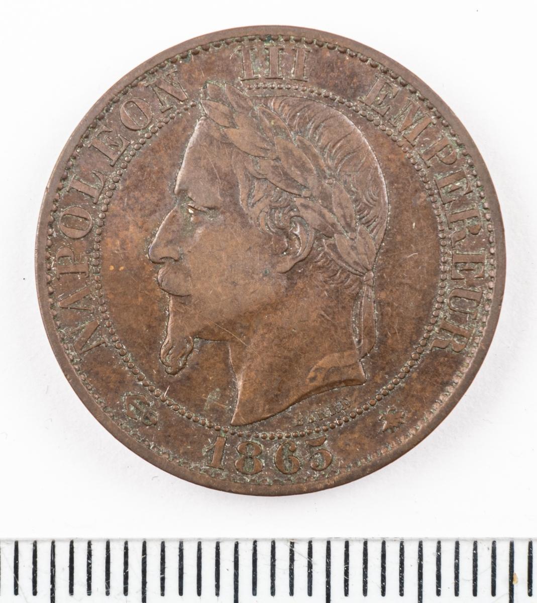 Mynt Frankrike 1865 5 Centimes.