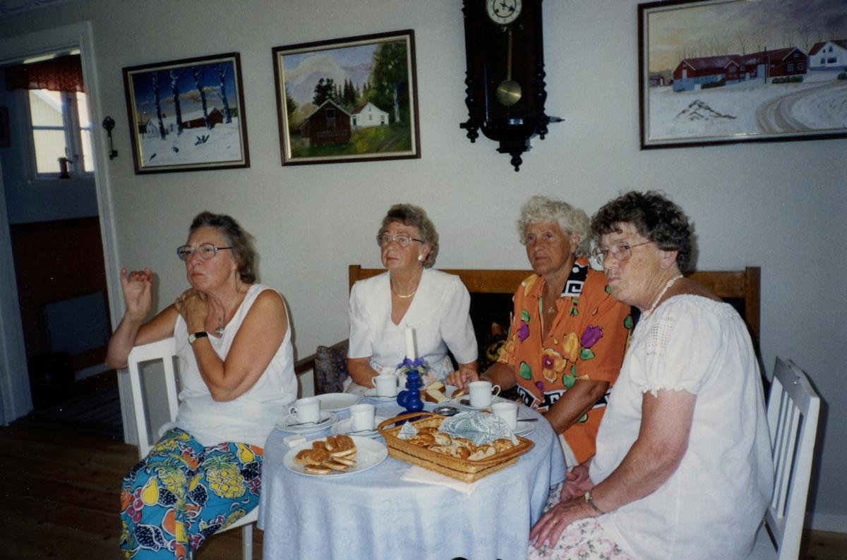 Brattåsgårdens äldreboende besöker Hembygdsgården Långåker, 1990-tal. Det är i samband med avslutning av en SV Studiecirkel*. Från vänster: Solveig Mattsson, Majken Olsson, Nancy Ehrenborg och Gördis Johansson.