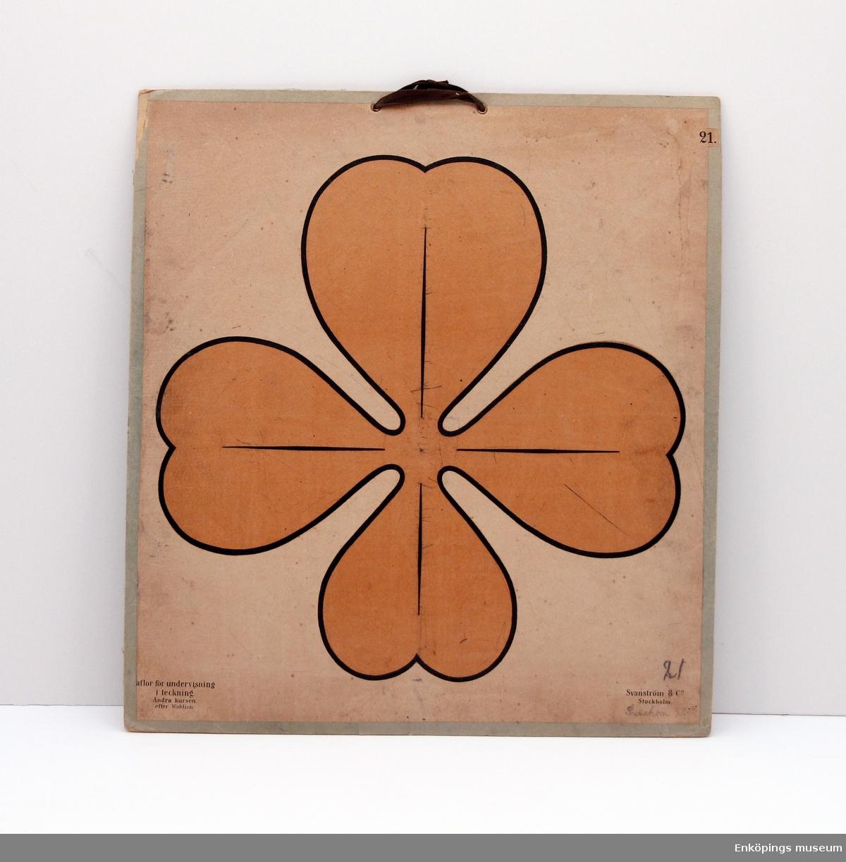 Skolplansch i ämnet teckning som visar en bild av en fyrklöver. Från Svanström & Co., Stockholm.  Skolplanscher användes i de flesta skolämnen under 1900-talet. År 1900 kom en ny läroplan (normalplan) där lektionerna skulle åskådliggöras för eleverna för att de skulle förstå bättre. Detta gjorde att räknestavar, skolplanscher, stora kartor och den svarta tavlan blev viktiga skolredskap.
