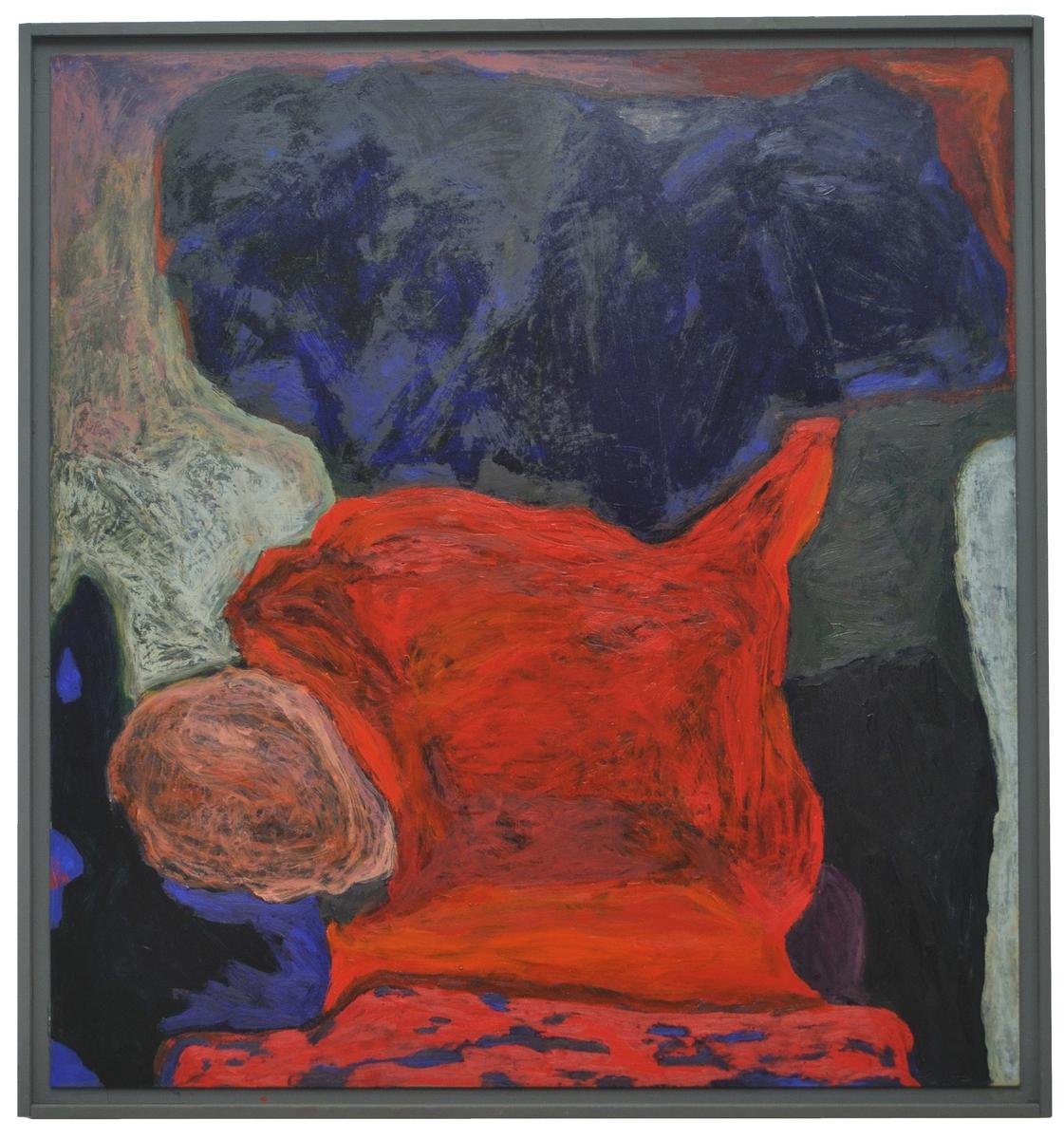 """Oljemålning, """"Damgou"""" av Rolf Hanson. Föreställande färgfält i klarrött, mörkblått, vitt, skärt. Signerad a tergo. Slät grovgråmålad listram. (Kat.kort)"""