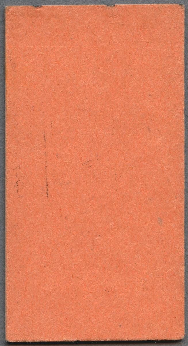Museitågsbiljett från Östra Södermanlands Järnväg. Biljetten är utfärdad i tredje klass på sträckan Mariefred Å eller Mariefred-Läggesta södra. Utmed vänstra kortsidan finns ett präglat datum. Biljetten är av Edmondsonskt typ av orange papp och i liggande format. Biljettens pris var 9 kronor. Ett tidigare pris är övermålat.