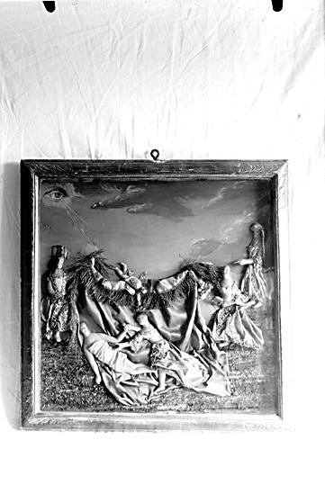 Allegoriskt panoptikon, tavla med vaxbilder.