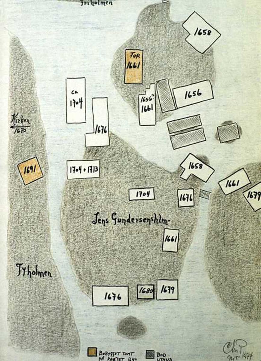 Kart Tyholmen, bebyggselsesutvikling. Laget av Chr. Poppe.