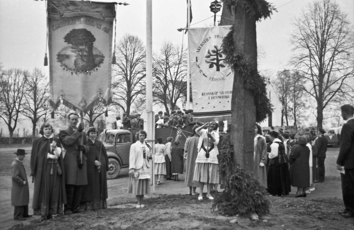 17. mai. Faner fra Eidsvold Ungdomslag og Akershus Husmorskole. Ved Eidsvoll Kirke(?).