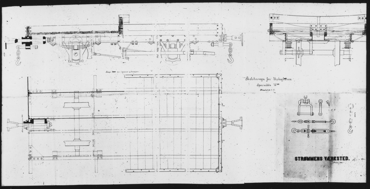 Tegning av bolstervogn for Urskogbanen. Vognen MK7-MK18 ble bygget etter denne tegningen.