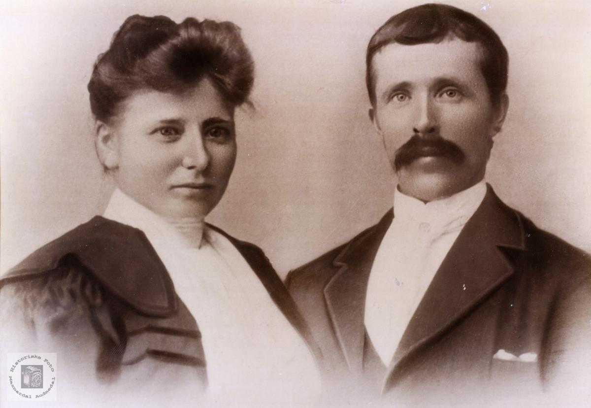 Portrett av ekteparet Ranni og Knud Lislevann. Vegusdal