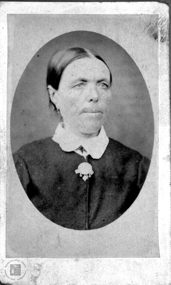Portrett av ukjent dame trolig fra Bjellandsområde.