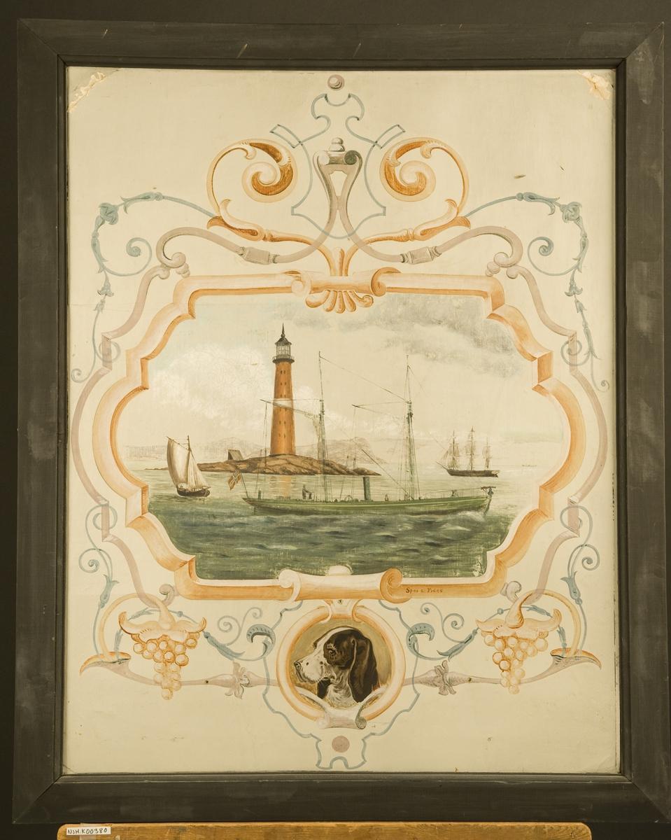 'Veggdekorasjon' Hvalfanger D/S 'Spes & Fides' I bakgrunnen en fullrigger og et fyrtårn, nedenunder hodet av en New-Foundlender