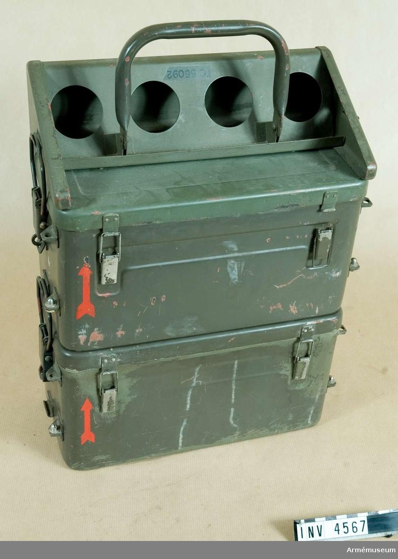 Strömförsörjningsutrustning 3/S m stödplåt och bärhandtag.(Ackumulatorn) t pansarvärnsrobot SS 11. (M 8730-396310).