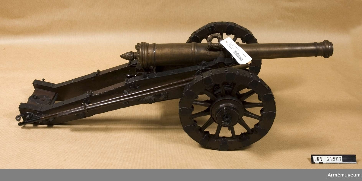 Grupp F I.   Kapten F A Spaks katalog 1888.  I modellen ingår eldrör, lavett, riktspak, riktkil, laddskyffel.