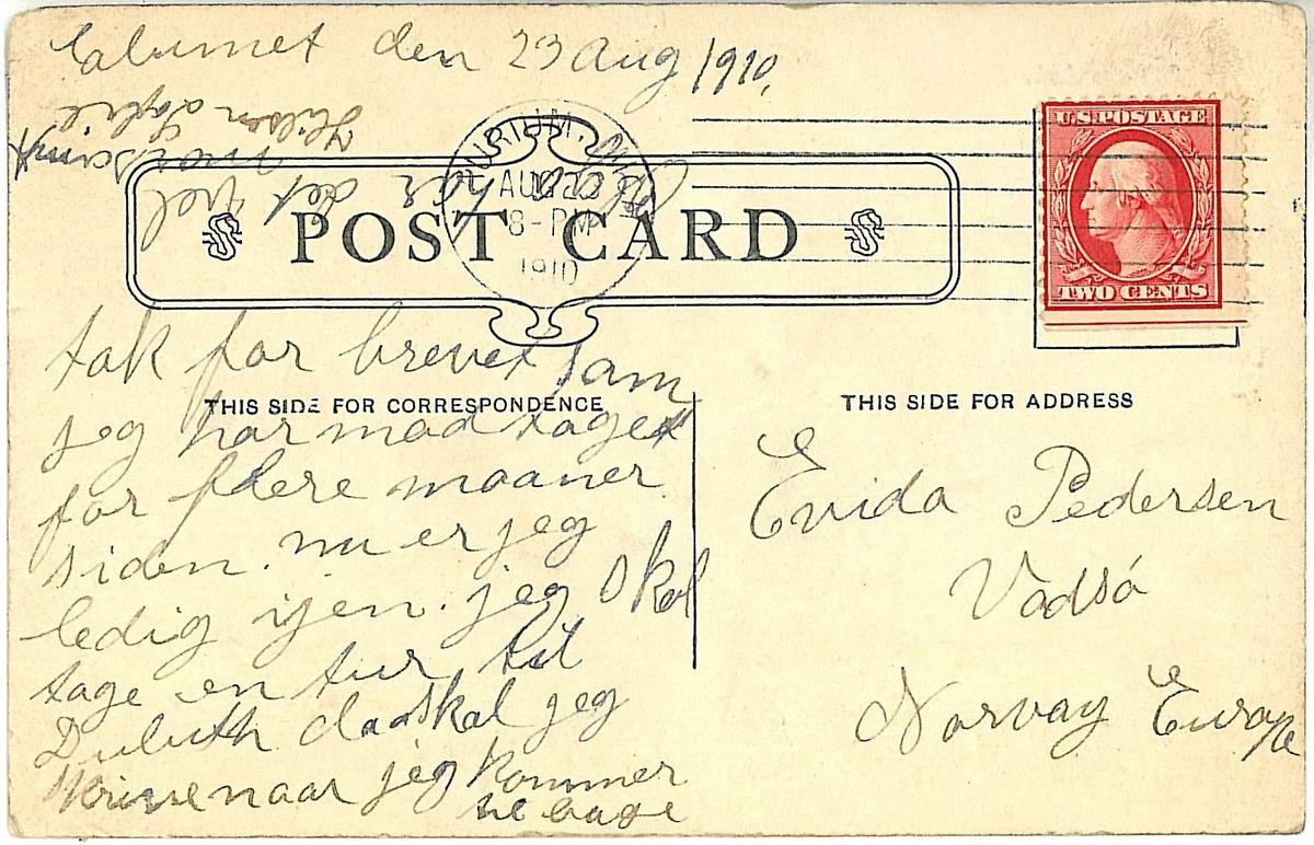 Avfotografert postkort som ble sendt fra emigrerte vadsøværinger i USA til slekt og venner i Norge.