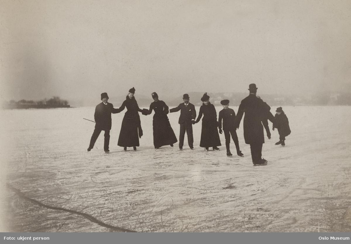 islagt fjord, gruppe, menn, kvinner, barn, skøyteløp