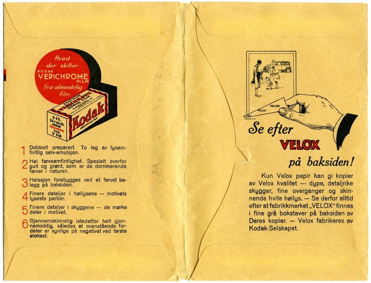 Konvolutt fra fotografen/ firmaet J.L. Nerlien AS, hvor 6 negativer ble oppbevart.  Baksiden: Håndskrevet og trykket tekst.
