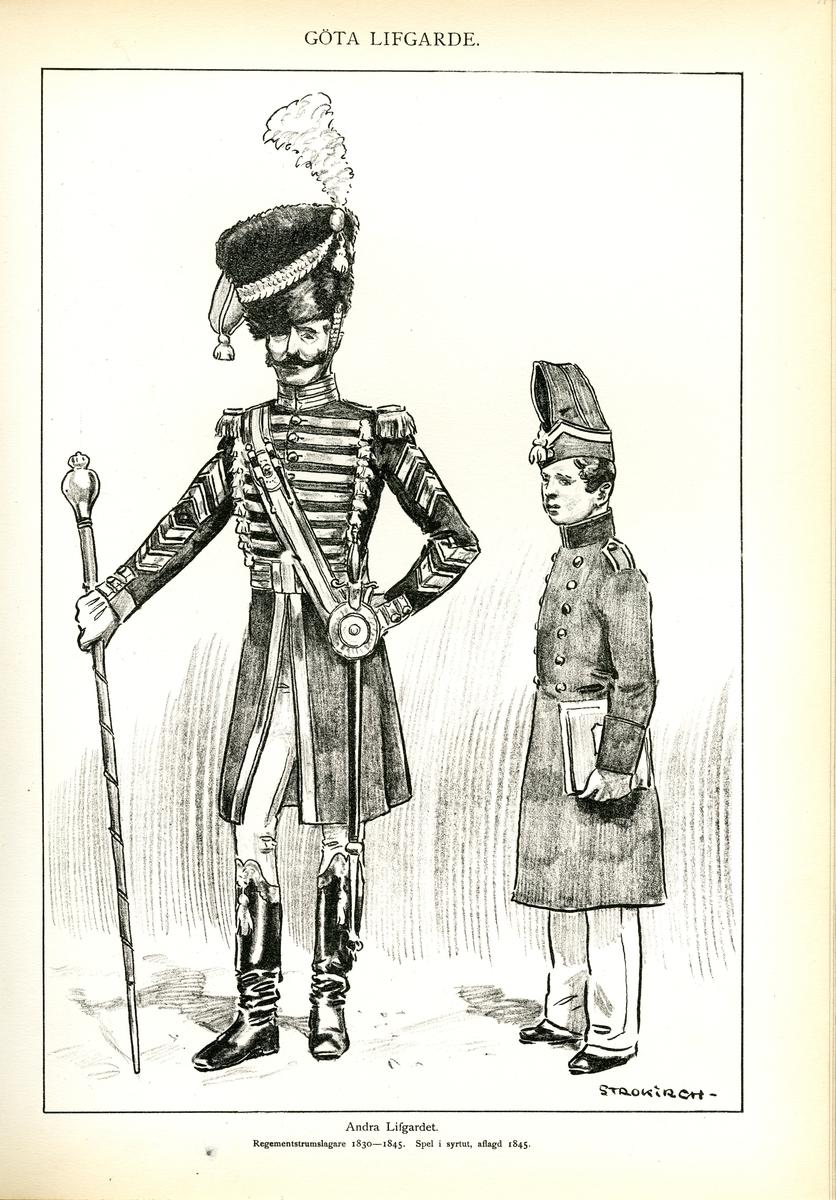 Plansch med uniform för regementstrumslagare vid Andra livgardet och Göta livgarde för åren 1830-1845, ritad av Einar von Strokirch. Ingår i planschsamlingen Svenska arméns munderingar 1680-1905.