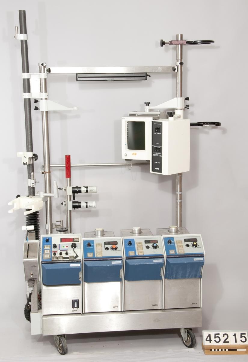 Hjärt-lungmaskin. Maskinen tar över hjärtats och lungornas arbete vid hjärtoperationer. Detta kallas ECC (ExtraCorporeal Circulation).  Modell: Sarns 8000. Maskinen är tillverkad av Terumo Cardiovascular Systems Corporation, USA.