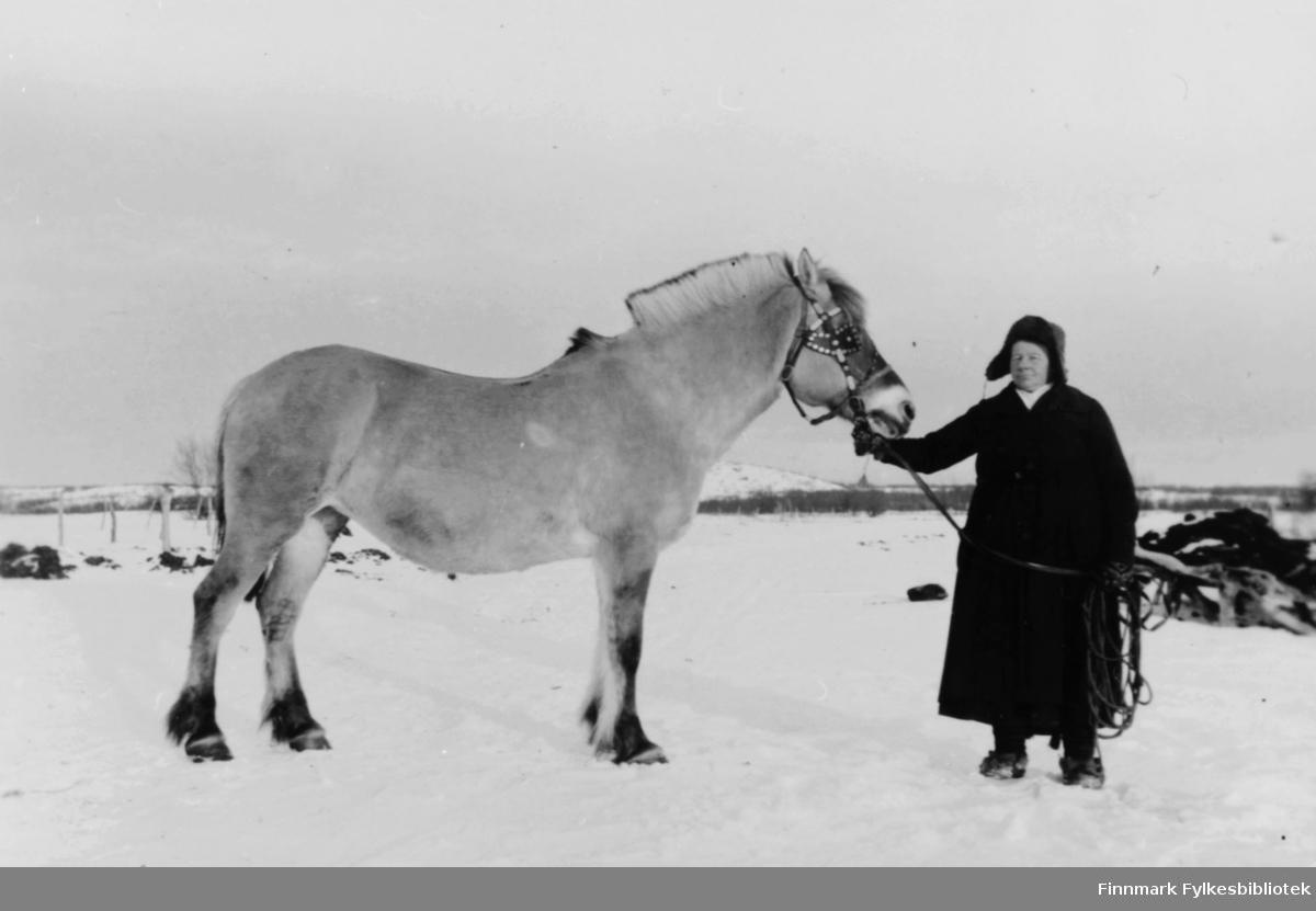 Et fotografi av Magna Erika stående ved siden av en hest, fjording. Hun står og holder hesten etter grimma. Hun var gift med Oskar Store, Vesterelv, Nesseby, som var søn til Petter Store.