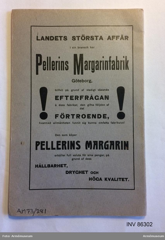 """Grupp MV.  Tryckt skrift """"Undervisning för det vid rullföringsexpedition tjänstgörande värnpliktiga skrifbiträdet"""", Stockholm 1904, författad av J. Kjelleström."""
