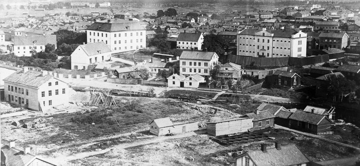 Återuppbyggande av Gävle efter stadsbranden. Kopia av O. E. Renners foto