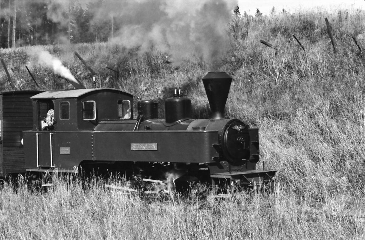 Damplokomotiv nr. 4 Setskogen med museumstog på Urskog-Hølandsbanen, Tertitten.
