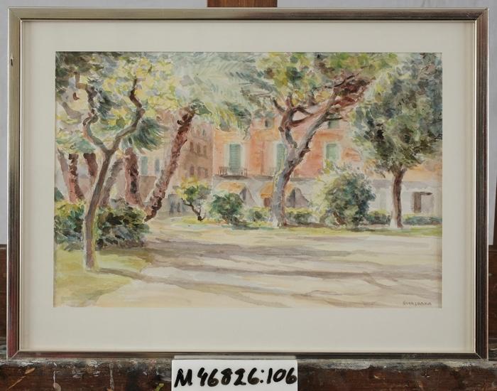 Akvarell på papper.  Sydländskt motiv. Öppen plats med träd framför husfasader. Italien (?)
