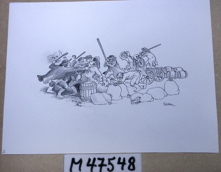 Tusch och krita på papper.  Motivet föreställer ett slagsmål mellan män klädda i mörka  kläder och vidbrättade hattar. Runt slagskämparna syns säckar,  tunnor och vagnar.