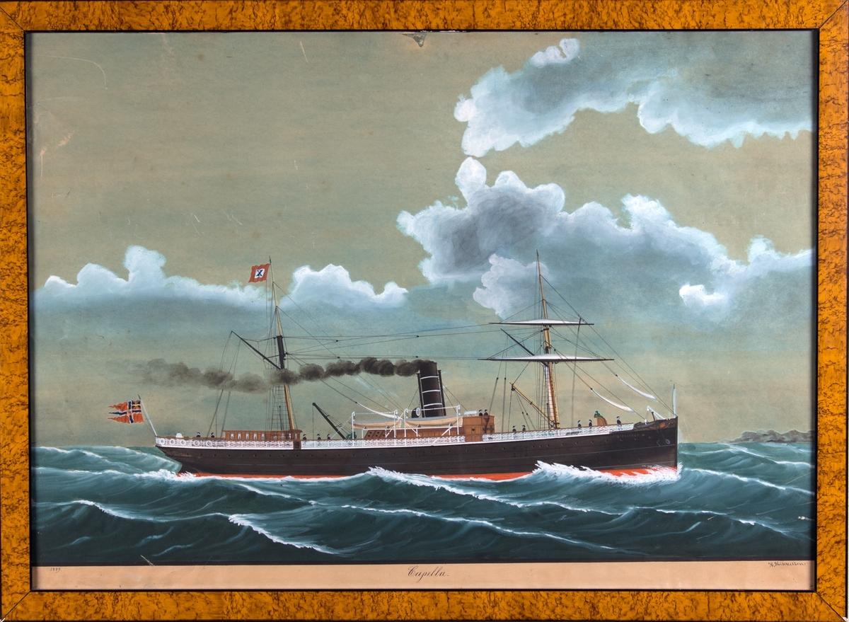 Skipsportrett av DS CAPELLA under fart, ser land foran baugen. Skipet har to rær og gaffel på formasten. Kompaniflagget på aktermasten; rødt flagg med hvit firkant hvori blå X, samt unionsflagg akter.