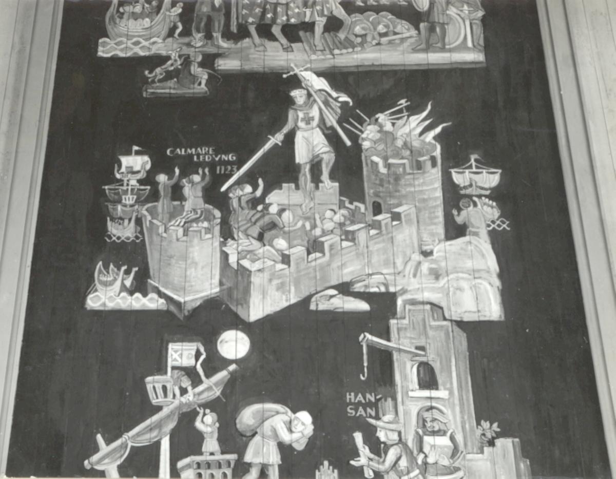 Stagneliusskolan. Dekoration i taket i högtidssalen. Utförd 1933 av E Forseth.