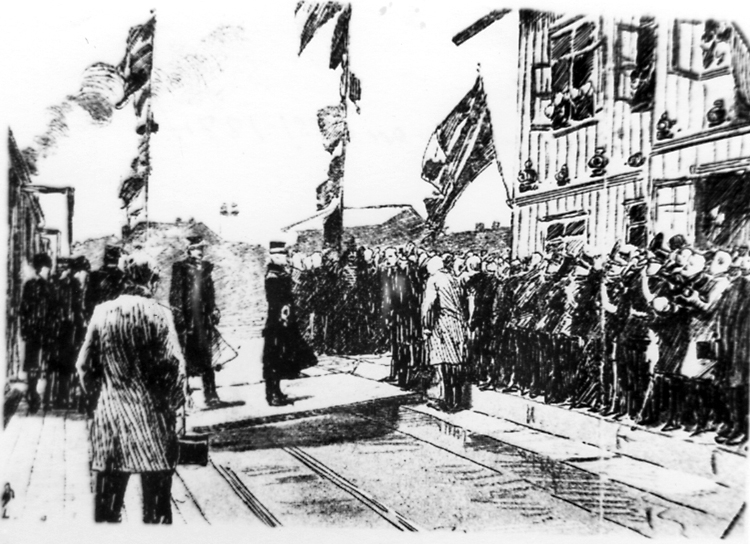 Oscar II inviger Lidköping-Skara-Stenstorps Järnväg, L.S.S.J. den 19 november 1874.Reprofotografi av teckning eller etsning.