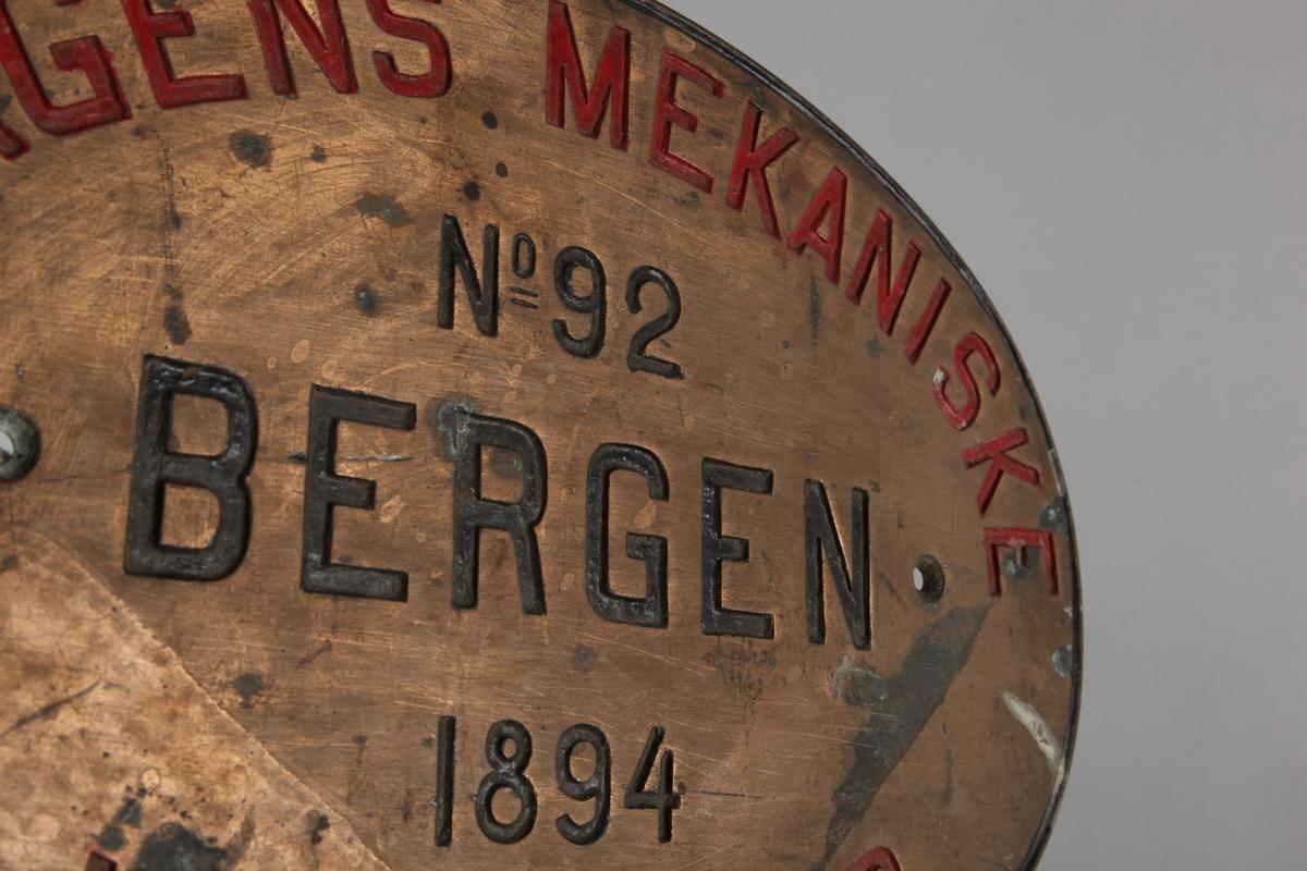 Byggeskilt: Bergens Mekaniske Værksted no. 92, Bergen 1894.