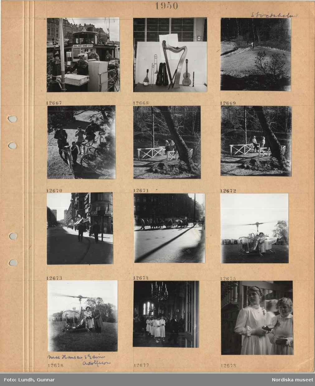 Motiv: Stockholm, skärgårdsbåt vid kaj, fraktgods i fören, man i skärmmössa, uppställda musikinstrument framför vägg med namn på olika kompositörer, cyklister på grusväg i grönområde, två kvinnor på brygga med räcken vid kanal, gata, två män i uniform, i fonden Kungstornen, en man, Max Hansen, i rock och hatt står vid helikopter med snurrande propeller, publik står i bakgrunden, två män, Max Hansen och Edvin Adolphson, står vid helikopter, interiör kyrka, kvinnliga konfirmander klädda i vitt tågar på led efter präst, två kvinnliga konfirmander med böcker i händerna.