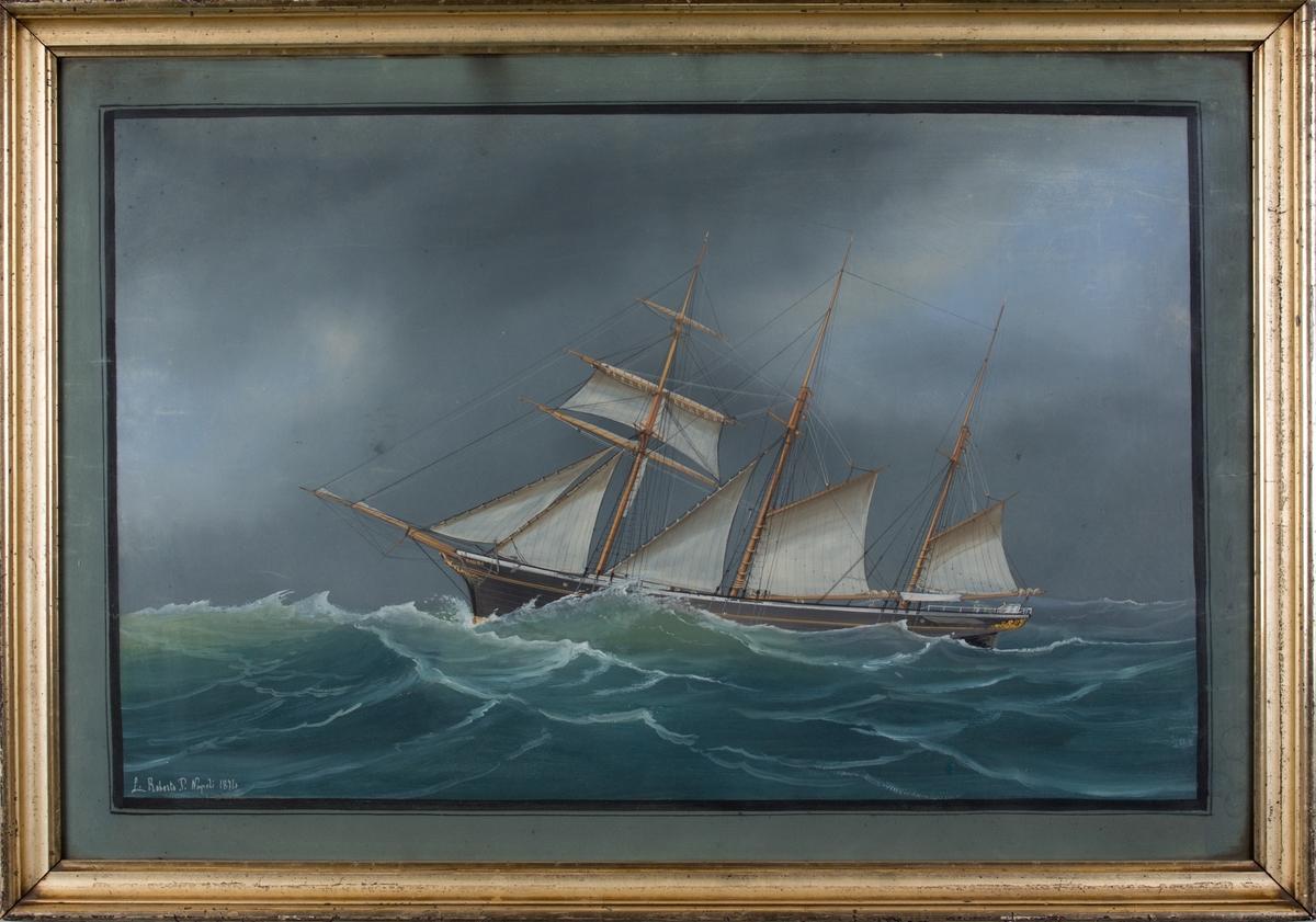 Skipsportrett av skonnert RAUMA i åpen sjø.