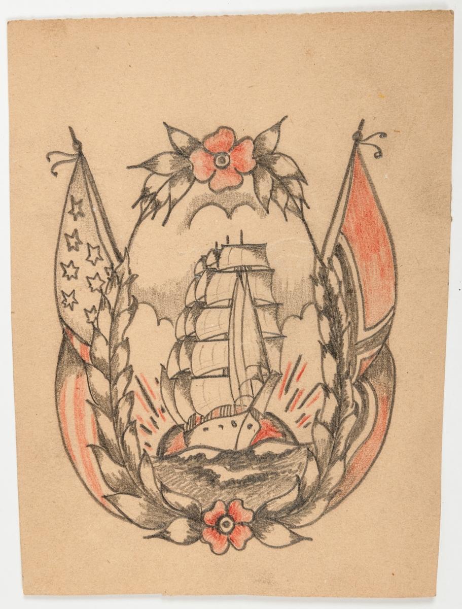 """Tatueringsförelagor. 4 stycken teckningar föreställande kvinna med stjärnbanér, fregatt med kvinnoansikte, räddningskrans, skepp """"Sailors grave"""" hjärtan, orm, örn med namnet Linnéa, m.m."""