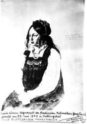 PortrettH, kvinne, teikning, bunad, tegning, måleri