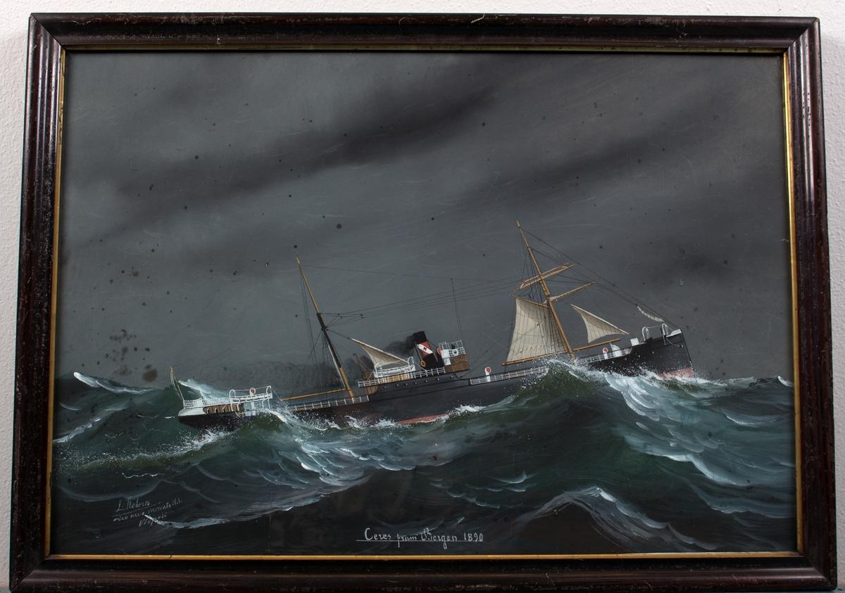 Skipsportrett av DS CERES under fart i grov sjø med seilføring. Fører ingen flagg eller vimpel.