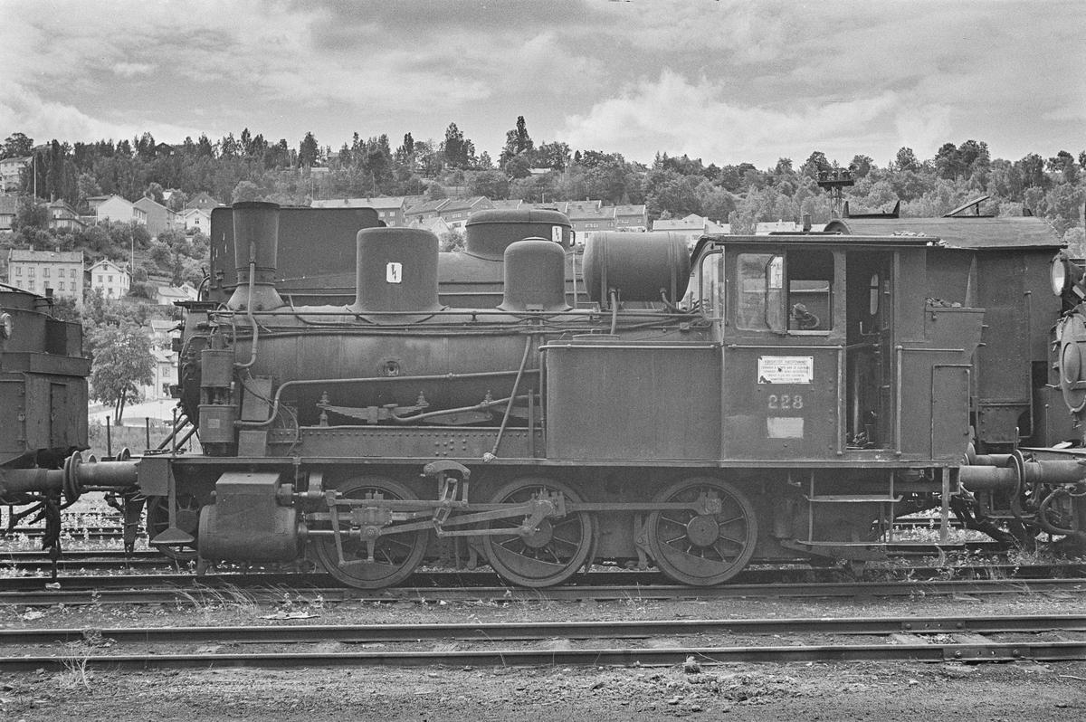 Hensatt damplokomotiv type 25a nr. 228 i Lodalen i Oslo.