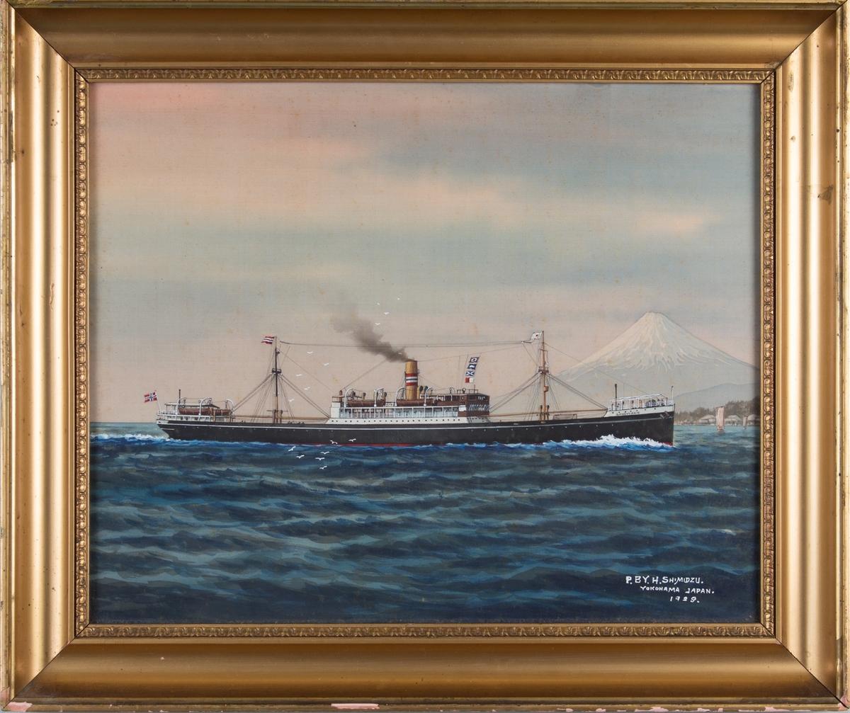 Skipsportrett av DS SANDVIKEN.  Japansk flagg i formast, norsk flagg i akter. Fujifjellet og Yokohama by i bakgrunn av bildet.