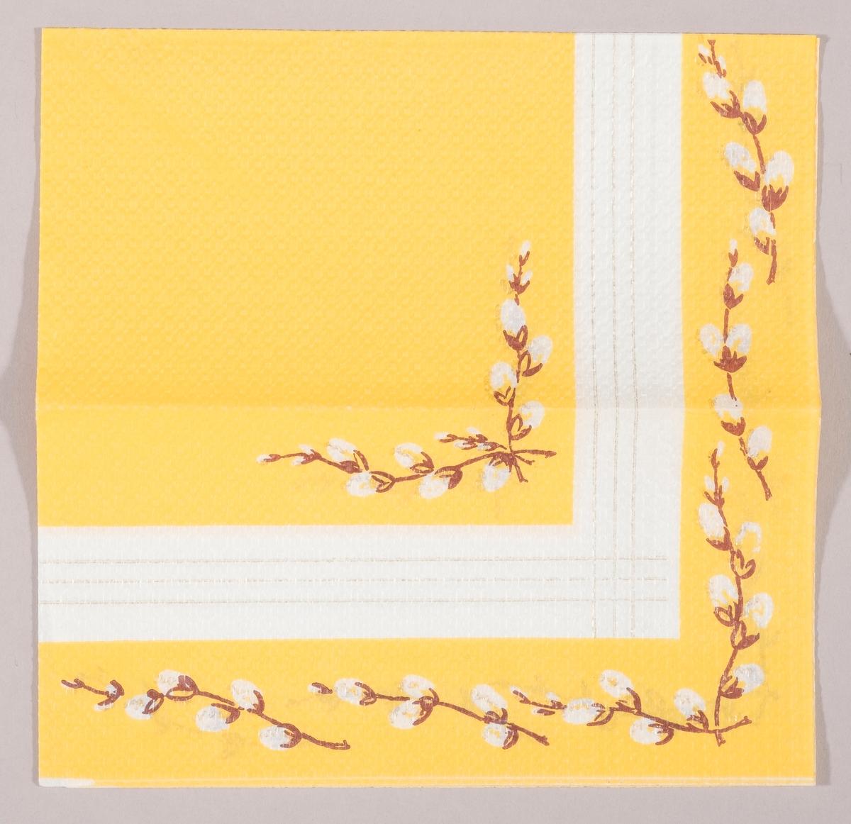 """Grener med """"gåsunger"""". Gullstriper som krysser hverandre. Gul og hvit bakgrunn."""