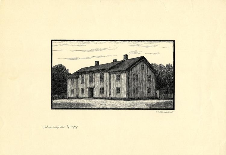 Originalträsnitt. Gästgivaregården vid Gamla torg, Ljungby.