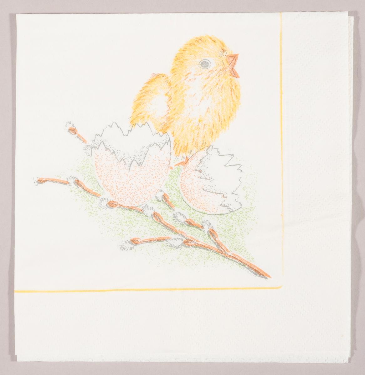 """En kylling ved siden av skallet av et egg og en gren med """"gåsunger"""""""
