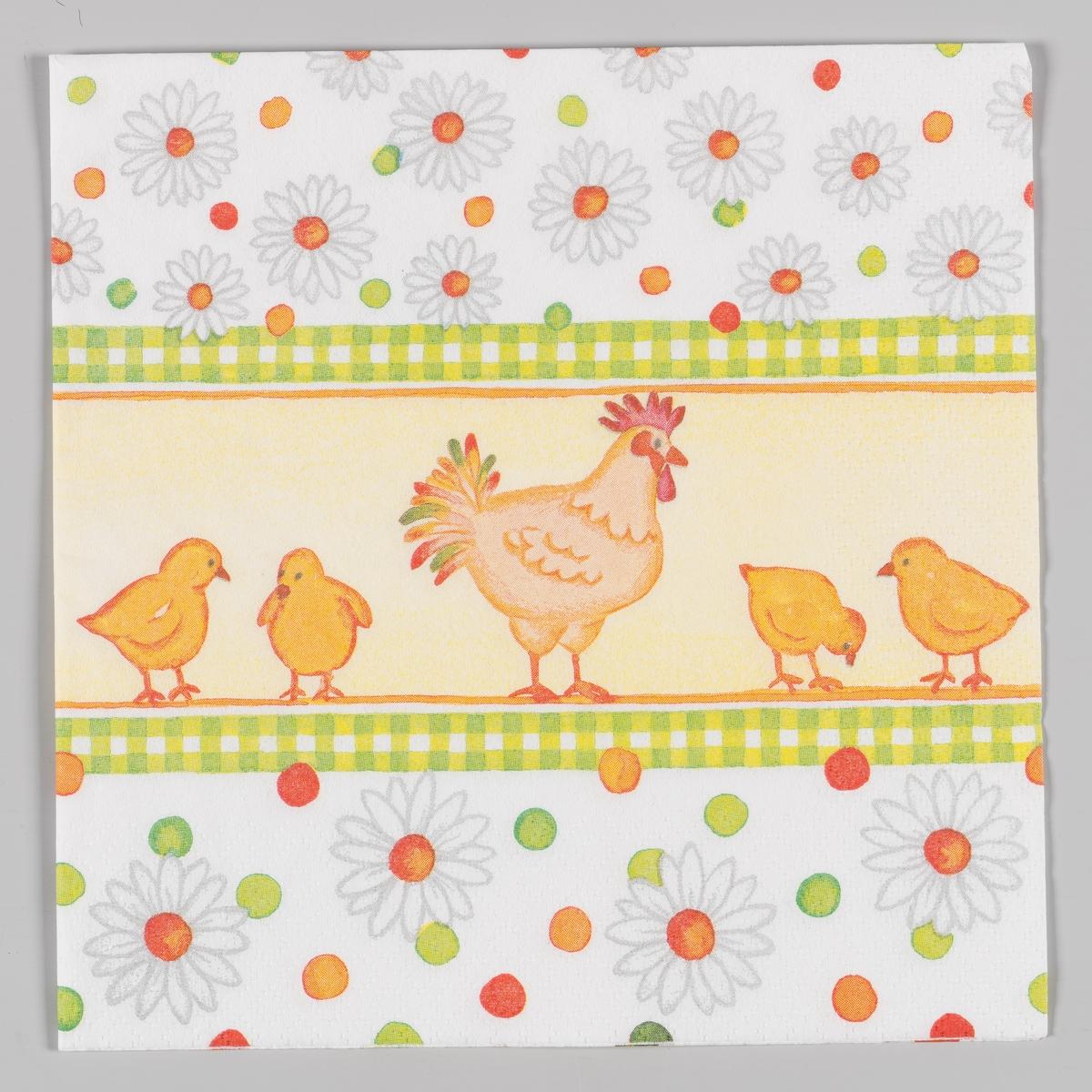En hønemor sammen med fire kyllinger. To grønne og hvitrutete striper. Hvite blomster og røde, grønne og oransje prikker.