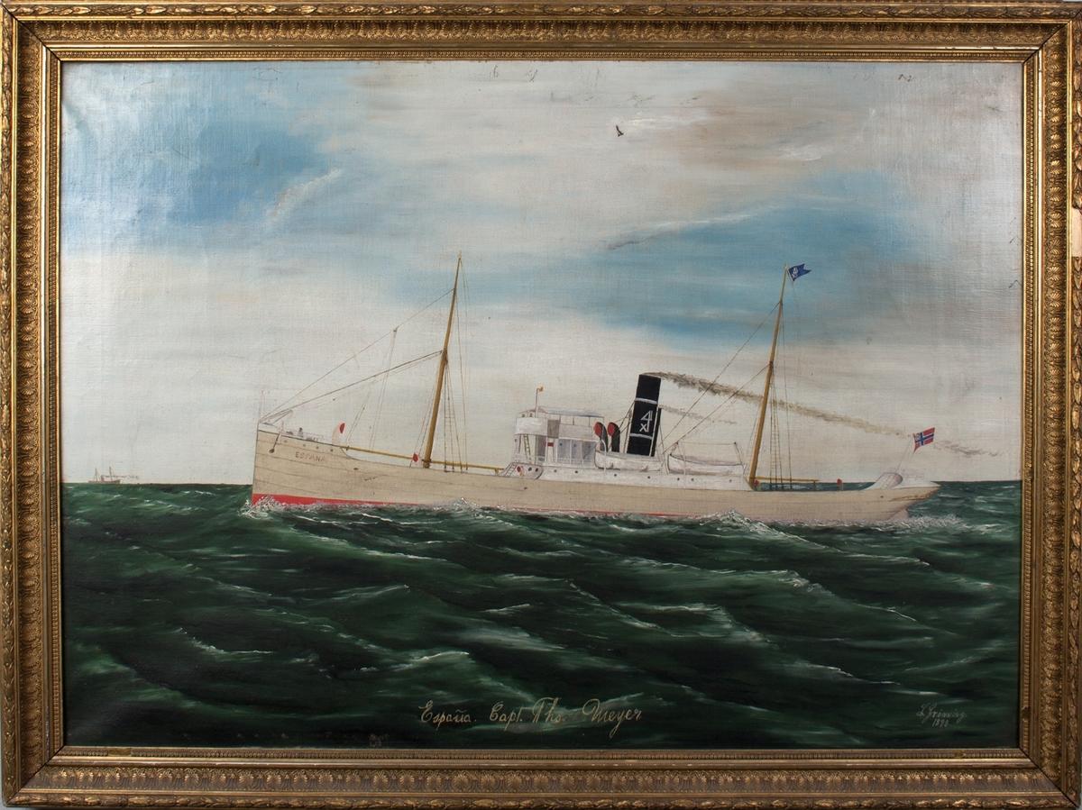 Skipsportrett av DS ESPANA under fart i åpen sjø.