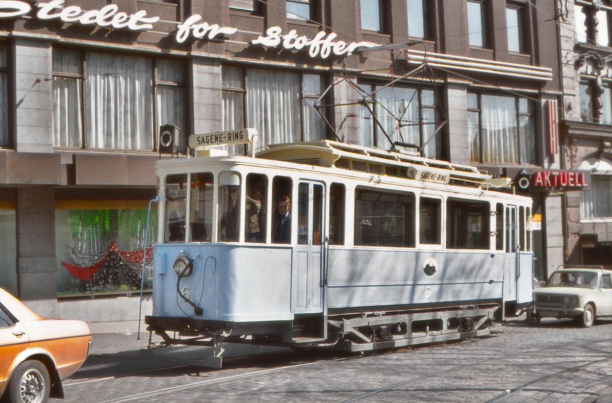 Oslo Sporveier vogn 6, bygget 1918. Deler av vognen er fra 1899. Bevart av Sporveismuseet/Lokaltrafikkhistorisk forening.