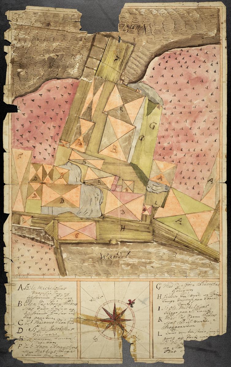 Kart over del av Friholmen i Arendal