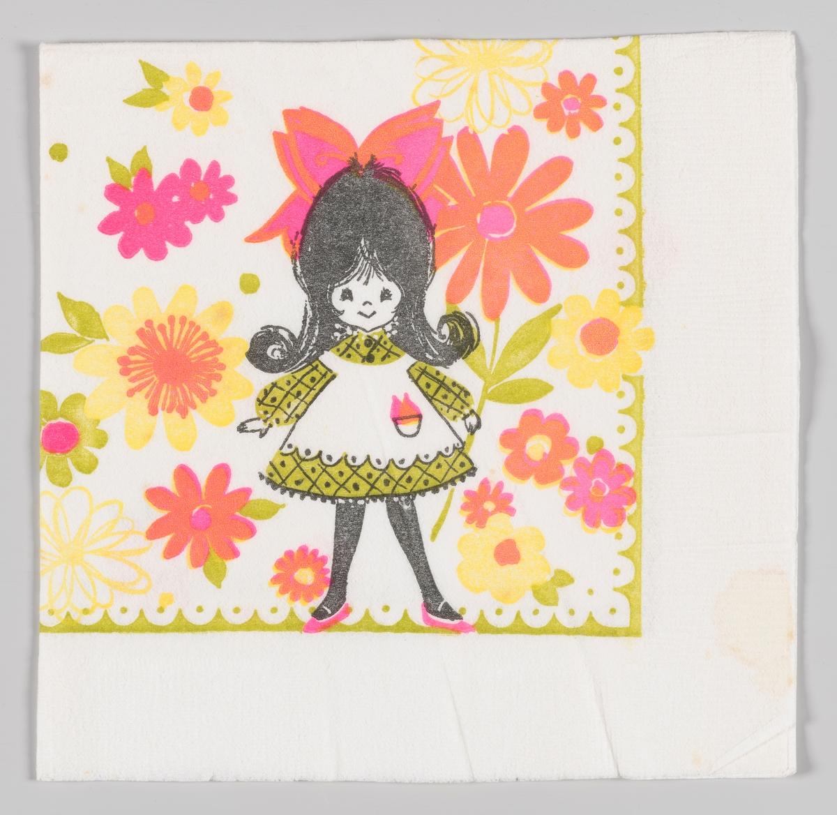 en jente med kjole og forkle står blant gigantiske blomster. Grøn bølget kant.
