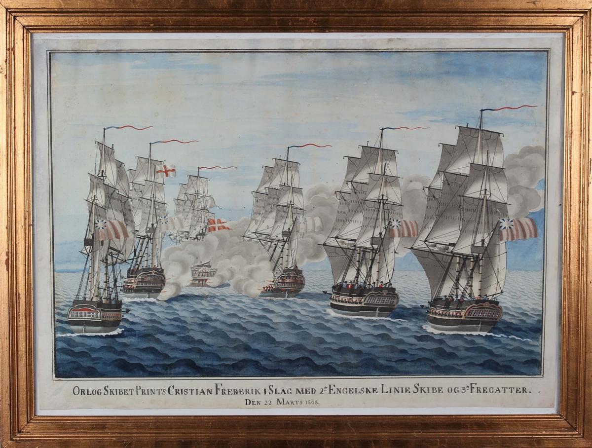 Håndkolorert trykk av orlogsskipet PRINTS CHRISTIAN FREDERIK i slag med engelske lineskip og fregatter den 22. mars 1808