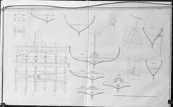 Tegninger av Gokstadskipet. Avfotografert.